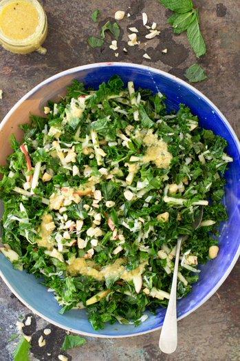 Massaged Kale, Cabbage & Apple Salad w Ginger Mustard Dressing