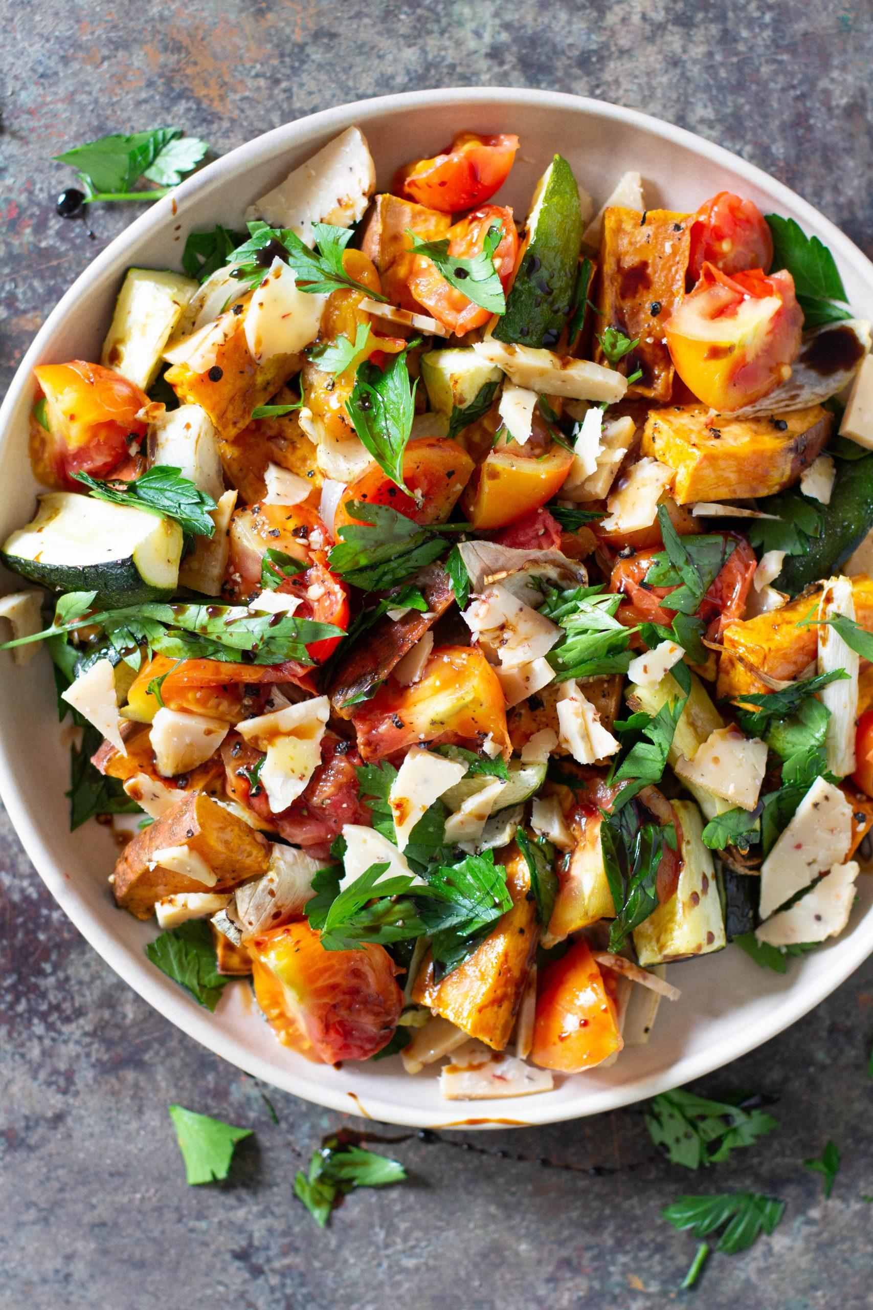 Sweet Potato, Zucchini & Tomato Salad with Balsamic Dressing