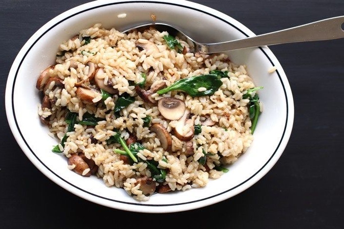 Spicy Celery, Mushrooms and Spinach Fried Rice
