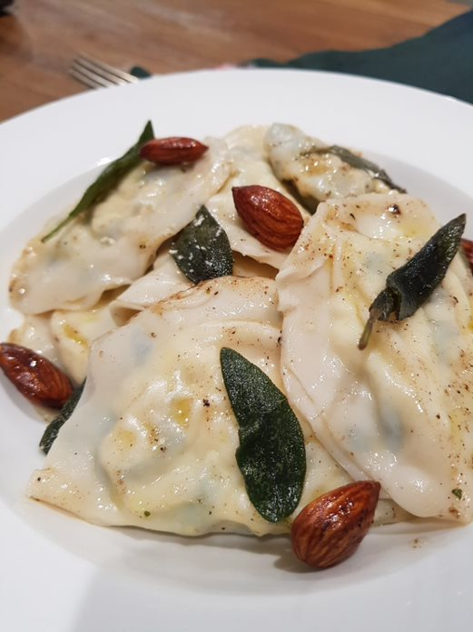 Spinach and Ricotta Ravioli with EVOO and Sage Sauce