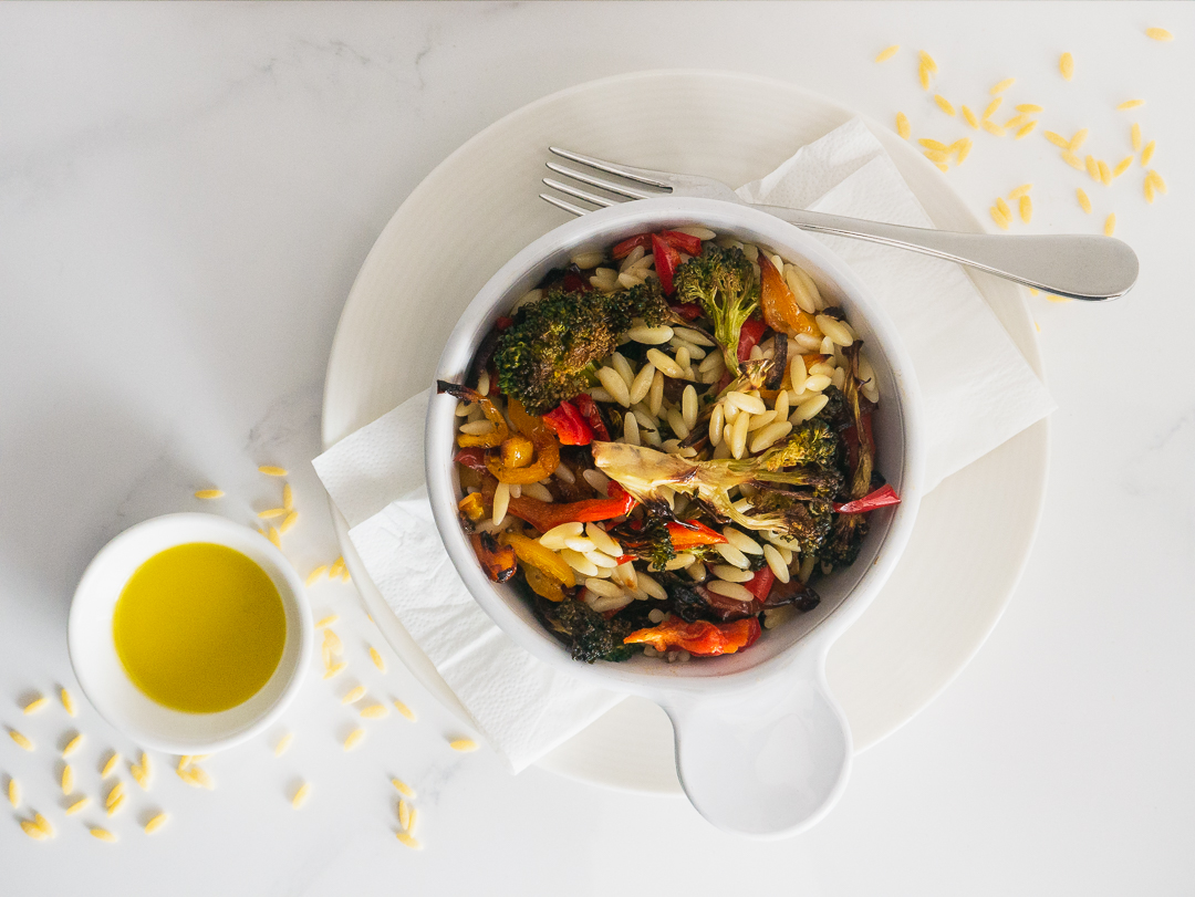 Orzo with Roasted Vegetable Salad